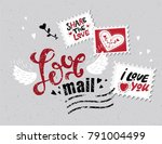 lettering love mail in the form ... | Shutterstock .eps vector #791004499