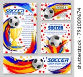 soccer ball banner template for ... | Shutterstock .eps vector #791009674