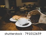 breakfast with cup of coffee ...   Shutterstock . vector #791012659