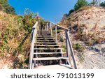 wooden stairs up the hill ... | Shutterstock . vector #791013199