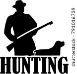silhouette of a hunter with... | Shutterstock .eps vector #791016739