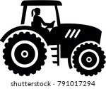 farmer tractor with female... | Shutterstock .eps vector #791017294