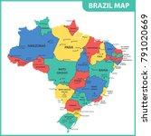 the detailed map of the brazil... | Shutterstock .eps vector #791020669