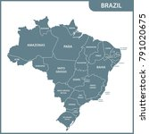 the detailed map of the brazil... | Shutterstock .eps vector #791020675