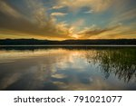 sunset at cottage grove lake ... | Shutterstock . vector #791021077