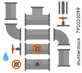 kit set of pipelines. isolated... | Shutterstock .eps vector #791023099