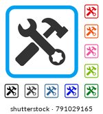 hammer and wrench icon. flat...