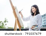 portrait of asian beautiful... | Shutterstock . vector #791037679