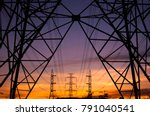 electric pole and sunset | Shutterstock . vector #791040541