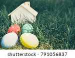 colorful easter eggs with a... | Shutterstock . vector #791056837