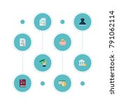 set of accounting icons flat... | Shutterstock .eps vector #791062114