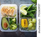 healthy green meal prep... | Shutterstock . vector #791065957