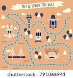 map of lisbon  portugal | Shutterstock .eps vector #791066941