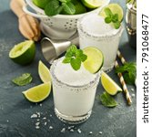 frozen lime and mint margarita... | Shutterstock . vector #791068477