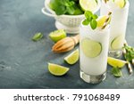 refreshing summer drink lime... | Shutterstock . vector #791068489