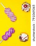sweet donut   purple donut  ... | Shutterstock . vector #791069365