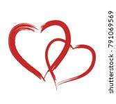 red vector grunge heart shape... | Shutterstock .eps vector #791069569