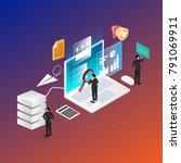 3d isometric web analysis... | Shutterstock .eps vector #791069911