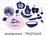 jam labels template. fruit... | Shutterstock .eps vector #791074165
