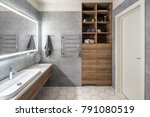 contemporary bathroom with gray ... | Shutterstock . vector #791080519