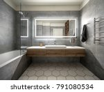 bathroom in a modern style with ... | Shutterstock . vector #791080534