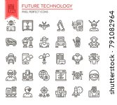 future technology   thin line... | Shutterstock .eps vector #791082964