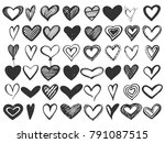 vector set of sketch hearts | Shutterstock .eps vector #791087515