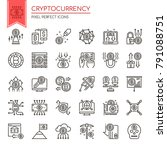 cryptocurrency elements. thin... | Shutterstock .eps vector #791088751