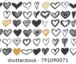 seamless pattern with sketch... | Shutterstock .eps vector #791090071