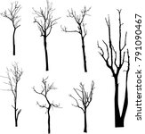 dead tree without leaves vector | Shutterstock .eps vector #791090467