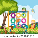 many children playing in the... | Shutterstock .eps vector #791091715