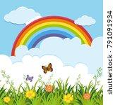 garden scene with butterflies... | Shutterstock .eps vector #791091934