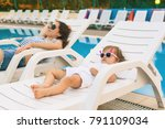 endless summer. cute baby and... | Shutterstock . vector #791109034