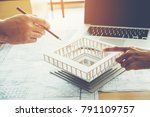 architect or engineer meeting...   Shutterstock . vector #791109757