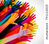 colorful silhouettes hands up... | Shutterstock . vector #791112025