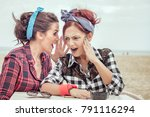 women best friends gossiping... | Shutterstock . vector #791116294