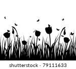 grass silhouettes background | Shutterstock . vector #79111633