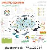 isometric 3d antarctica flora... | Shutterstock .eps vector #791123269