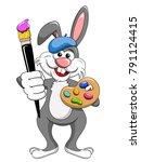 bunny or rabbit painter holding ... | Shutterstock .eps vector #791124415