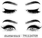 hand drawn woman's sexy makeup... | Shutterstock .eps vector #791124709