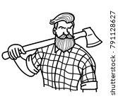 macho lumberjack in action... | Shutterstock .eps vector #791128627