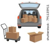 carton boxex in the boot of the ... | Shutterstock .eps vector #791135911