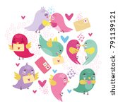 vector greeting card with... | Shutterstock .eps vector #791139121