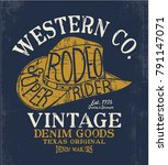 western hat drawing as vector... | Shutterstock .eps vector #791147071