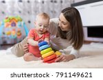 little baby boy and his mommy... | Shutterstock . vector #791149621