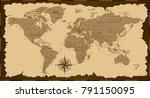 old world map. vector... | Shutterstock .eps vector #791150095