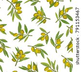 seamless pattern olives  hand... | Shutterstock .eps vector #791153467