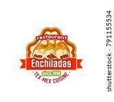 mexican enchilada or burrito... | Shutterstock .eps vector #791155534