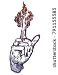 human tattooed hand with magic... | Shutterstock .eps vector #791155585