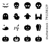 origami style icon set   scary...   Shutterstock .eps vector #791158129